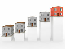 Chart with houses. Chart showing financial real estate growth Royalty Free Stock Images