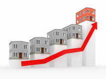 Chart with houses. Chart showing financial real estate growth Royalty Free Stock Photo