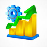 Chart icon gear. Chart icon arrow up statistic gear sign on white vector illustration Royalty Free Stock Photos