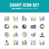 CHART ICON SET - FLAT stock illustration