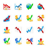 Chart icons. A set of color web icons with light shadow Stock Image