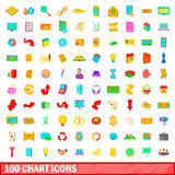 100 chart icons set, cartoon style. 100 chart icons set in cartoon style for any design vector illustration Stock Photo