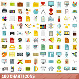 100 chart icons set, flat style. 100 chart icons set in flat style for any design vector illustration Royalty Free Stock Photos