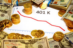 Chart of 401k going down falling with money and gold Royalty Free Stock Photo