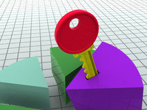 Chart and key. Graphic three-dimensional illustration. chart and key. 3d Stock Images