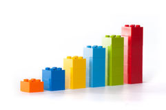 Chart from Lego. Business graph made of Lego blocks royalty free stock image