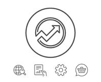 Chart line icon. Report graph in circle sign. Stock Images