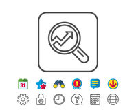 Chart line icon. Report graph sign in magnifier. Royalty Free Stock Image