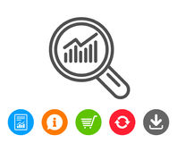 Chart line icon. Report graph sign in magnifier. vector illustration