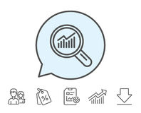 Chart line icon. Report graph sign in magnifier. Chart line icon. Report graph or Sales growth sign in Magnifying glass. Analysis and Statistics data symbol Royalty Free Stock Images