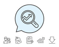 Chart line icon. Report graph sign in magnifier. Royalty Free Stock Photography