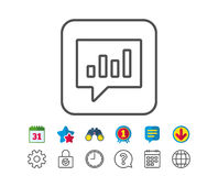 Chart line icon. Report graph in speech bubble. Royalty Free Stock Photo