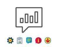 Chart line icon. Report graph in speech bubble. Stock Photo