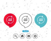 Chart line icon. Update Report graph sign. Royalty Free Stock Photography