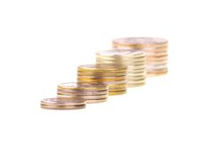 Chart made of stacks of coins Royalty Free Stock Images