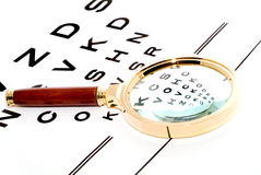 Chart through a magnifier. Royalty Free Stock Photos