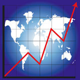 Chart and map of the world. Graph showing rising profits with a world background - additional ai and eps format available on request Royalty Free Stock Photo