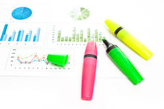 Chart and markers Royalty Free Stock Images