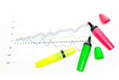 Chart and markers Stock Images