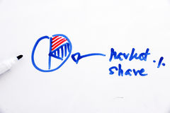 Chart of market share written on white board Royalty Free Stock Photos