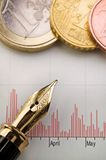 Chart, Money and Fountain Pen. Close up shot of coins, chart and fountain pen Stock Images