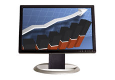 Chart on Monitor. A wide screen LCD monitor on a white background displaying a business graph Royalty Free Stock Images
