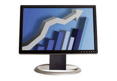 Chart on Monitor. A wide screen LCD monitor on a white background displaying a business graph Stock Photography