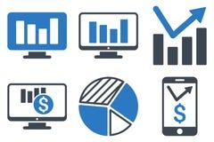 Chart Monitoring Flat Glyph Icons Stock Photo