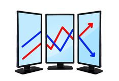 Chart on monitors Royalty Free Stock Images