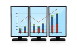 Chart on monitors. Blue flat panels with chart on screen monitors Stock Images