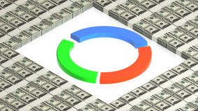 Chart on paper dollars Royalty Free Stock Photos