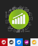 Chart paper sticker with hand drawn elements Royalty Free Stock Image