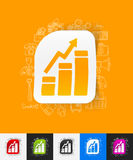 Chart paper sticker with hand drawn elements Stock Image