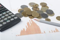 Home savings, budget concept. Chart. pen, calculator and coins on wooden office desk table. Chart, pen, calculator and coins on wooden table. Financial concept Royalty Free Stock Photography