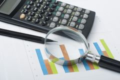 Home savings, budget concept. Chart, pen, calculator and magnifying glass on wooden office desk table. Chart, pen, calculator and magnifying glass on wooden Stock Photos