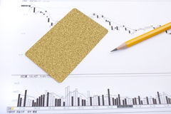 On the chart pen and credit card Stock Image