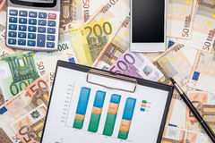 Chart with pen, smartphone, calculator above euro banknotes. Business chart with pen, smartphone, calculator above euro banknotes Royalty Free Stock Image