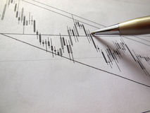 Daily chart and pen Royalty Free Stock Photo