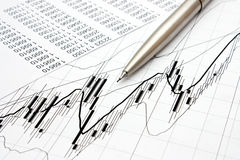 Chart and pencil Stock Images