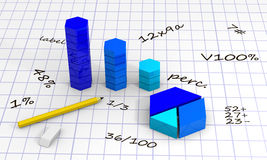 Chart with pencil and eraser. Background with diagram and cubes, calculating with pencil and eraser Royalty Free Stock Photo