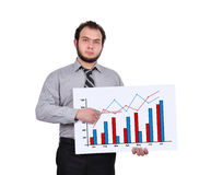 Chart on placard. Businessman pointing pencil to chart on placard Stock Images