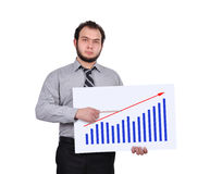 Chart on placard. Businessman pointing pencil to chart on placard Royalty Free Stock Images