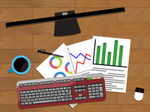 ??????????-1. Chart profit document, vector financial annual paperwork illustration Stock Photo