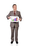 Chart of profits. Man holding a placard with profits Royalty Free Stock Images