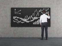 Chart of profits. Businessman in office drawing chart of profits on blackboard Stock Image