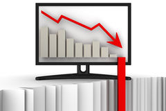 Chart of rapid fall in the monitor Stock Image