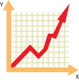 Chart rise. Rising chart shows the growth of income Stock Illustration