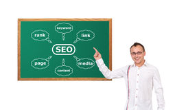 Chart seo on desk Royalty Free Stock Image