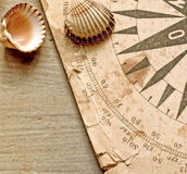 Chart and shells royalty free stock image