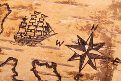 Chart with ships on the order of antiquities. The sea chart with ships on the order of antiquities on birchbark Royalty Free Stock Image